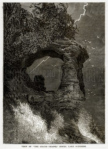 """View of """"The Grand Chapel"""" Rocks, Lake Superior. Illustration from The Countries of the World by Robert Brown (Cassell, c 1890)."""