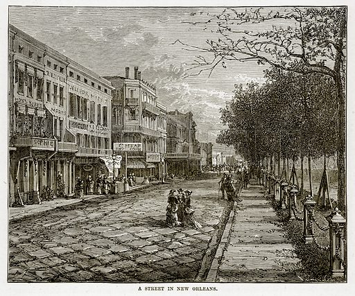 A Street in New Orleans. Illustration from The Countries of the World by Robert Brown (Cassell, c 1890).