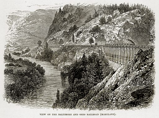 View on the Baltimore and Ohio Railroad (Maryland). Illustration from The Countries of the World by Robert Brown (Cassell, c 1890).