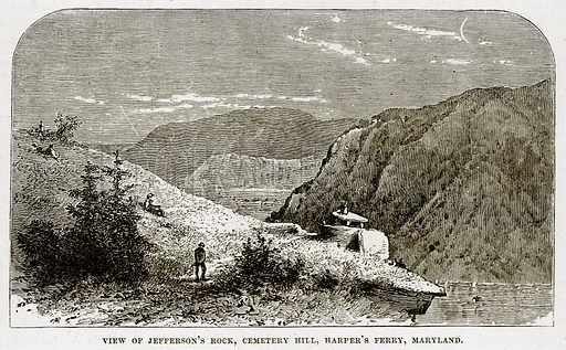 View of Jefferson's Rock, Cemetery Hill, Harper's Ferry, Maryland. Illustration from The Countries of the World by Robert Brown (Cassell, c 1890).