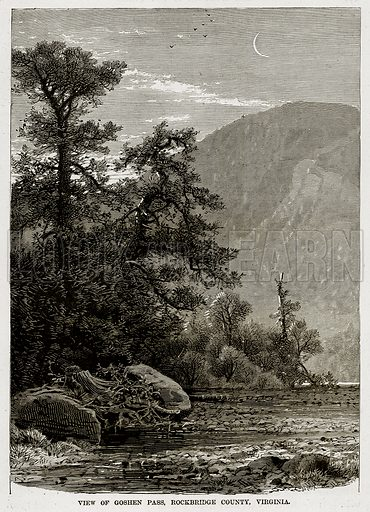View of Goshen Pass, Rockbridge County, Virginia. Illustration from The Countries of the World by Robert Brown (Cassell, c 1890).