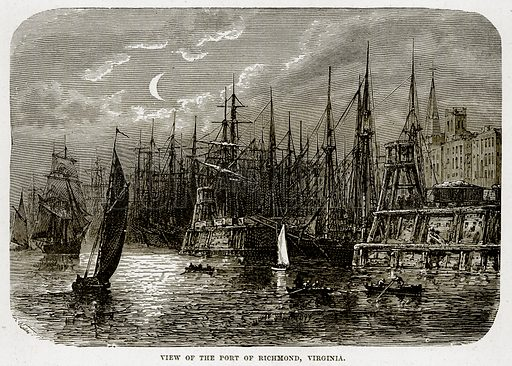 View of the Port of Richmond, Virginia. Illustration from The Countries of the World by Robert Brown (Cassell, c 1890).