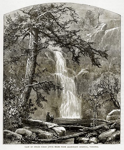 View of Stiles Falls (Four Miles from Alleghany Springs), Virginia. Illustration from The Countries of the World by Robert Brown (Cassell, c 1890).