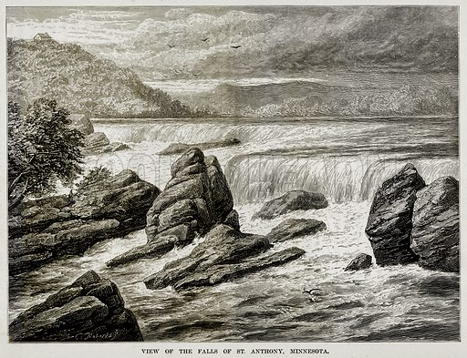 View of the Falls of St. Anthony, Minnesota. Illustration from The Countries of the World by Robert Brown (Cassell, c 1890).