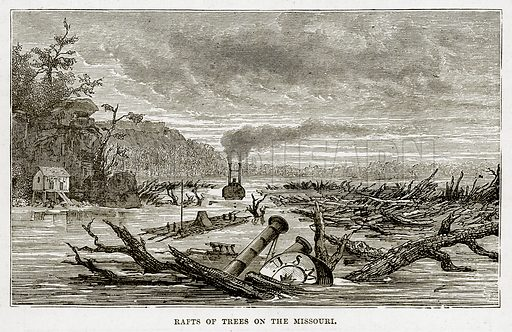 Rafts of Trees on the Missouri. Illustration from The Countries of the World by Robert Brown (Cassell, c 1890).