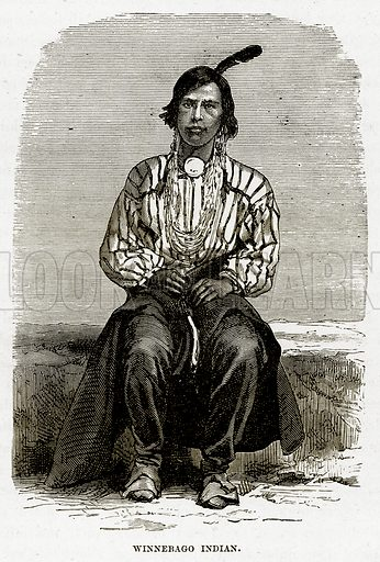 Winnebago Indian. Illustration from The Countries of the World by Robert Brown (Cassell, c 1890).