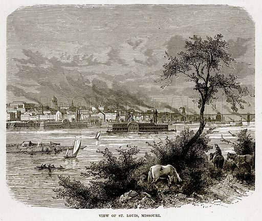 View of St. Louis, Missouri. Illustration from The Countries of the World by Robert Brown (Cassell, c 1890).