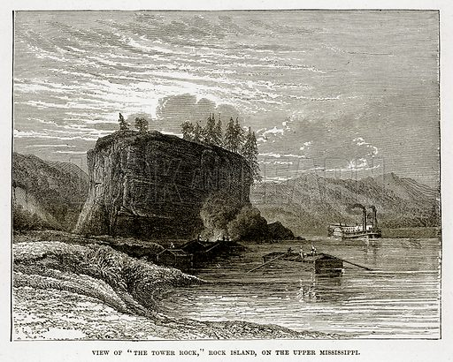 """View of """"The Tower Rock,"""" Rock Island, on the Upper Mississippi. Illustration from The Countries of the World by Robert Brown (Cassell, c 1890)."""