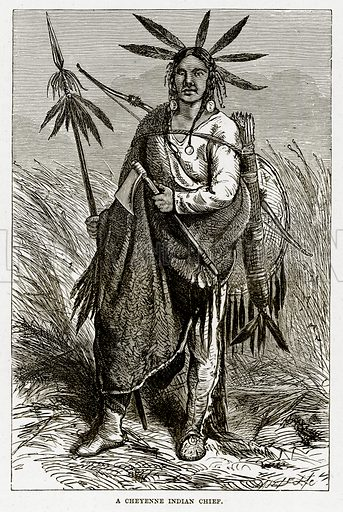A Cheyenne Indian Chief. Illustration from The Countries of the World by Robert Brown (Cassell, c 1890).