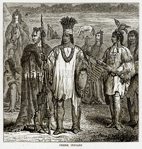 Creek Indians. Illustration from The Countries of the World by Robert Brown (Cassell, c 1890).