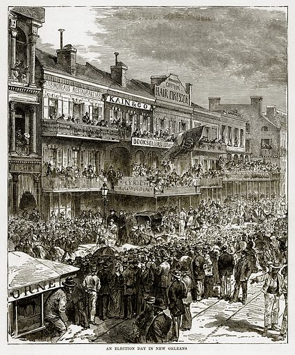 An Election Day in New Orleans. Illustration from The Countries of the World by Robert Brown (Cassell, c 1890).