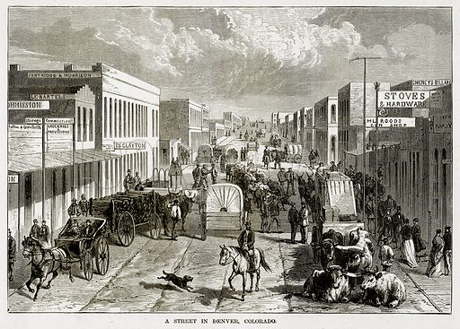 A Street in Denver, Colourado. Illustration from The Countries of the World by Robert Brown (Cassell, c 1890).