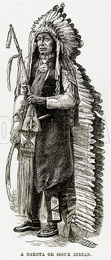 A Dakota or Sioux Indian. Illustration from The Countries of the World by Robert Brown (Cassell, c 1890).