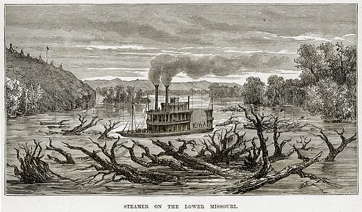 Steamer on the Lower Missouri. Illustration from The Countries of the World by Robert Brown (Cassell, c 1890).