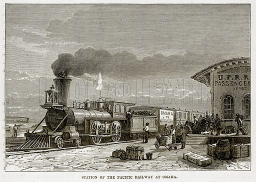 Station of the Pacific Railway at Omaha. Illustration from The Countries of the World by Robert Brown (Cassell, c 1890).