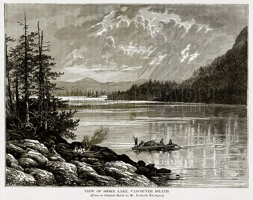 View of Sooke Lake, Vancouver Island. Illustration from The Countries of the World by Robert Brown (Cassell, c 1890).