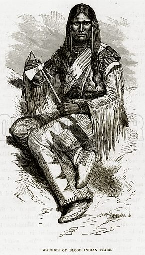 Warrior of Blood Indian Tribe. Illustration from The Countries of the World by Robert Brown (Cassell, c 1890).