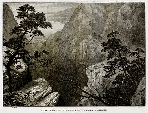 Snowy Range of the Sierra Madre, Rocky Mountains. Illustration from The Countries of the World by Robert Brown (Cassell, c 1890).