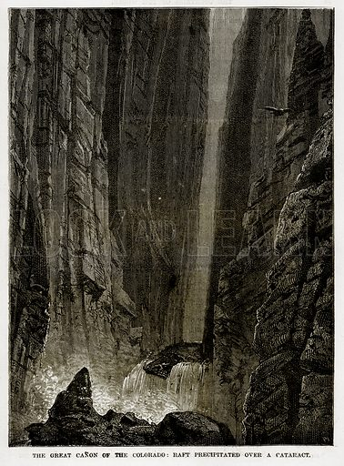 The Great Canon of the Colorado: Raft Precipitated over a Cataract. Illustration from The Countries of the World by Robert Brown (Cassell, c 1890).