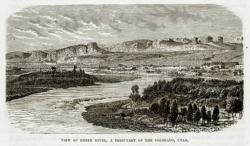 View of Green River, A Tributary of the Colorado, Utah. Illustration from The Countries of the World by Robert Brown (Cassell, c 1890).