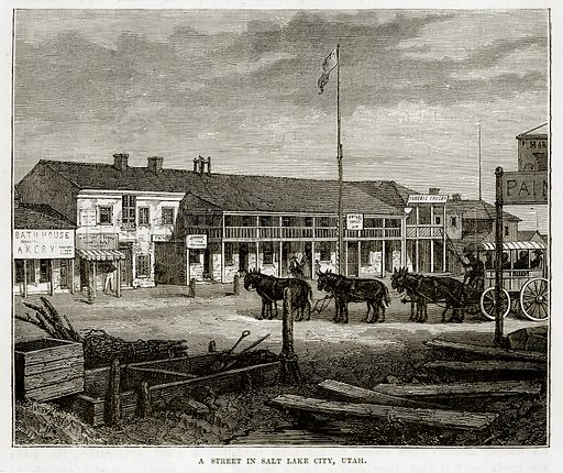 A Street in Salt Lake City, Utah. Illustration from The Countries of the World by Robert Brown (Cassell, c 1890).