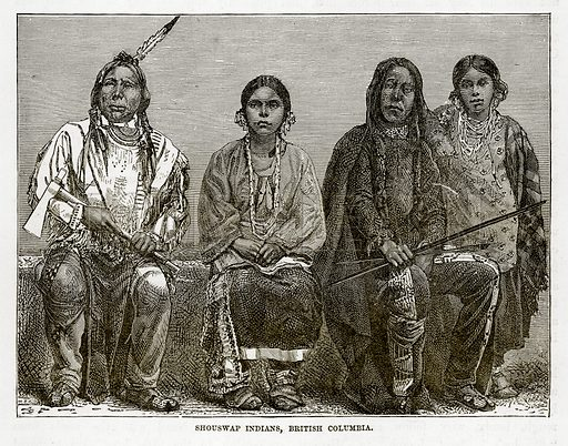 Shouswap Indians, British Columbia. Illustration from The Countries of the World by Robert Brown (Cassell, c 1890).