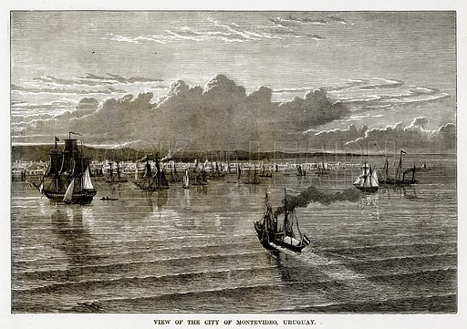 View of the City of Montevideo, Uruguay. Illustration from The Countries of the World by Robert Brown (Cassell, c 1890).