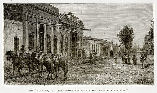 """The """"Alameda,"""" or Chief Promenade of Mendoza, Argentine Republic. Illustration from The Countries of the World by Robert Brown (Cassell, c 1890)."""