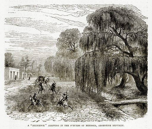 "A ""Diligence"" arriving in the Suburbs of Mendoza, Argentine Republic. Illustration from The Countries of the World by Robert Brown (Cassell, c 1890)."
