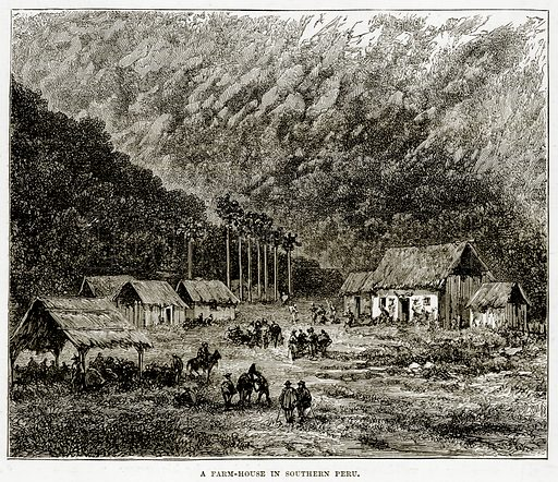 A Farm-House in Southern Peru. Illustration from The Countries of the World by Robert Brown (Cassell, c 1890).