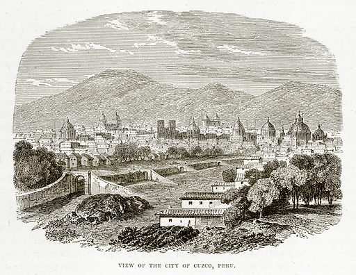 View of the City of Cuzco, Peru. Illustration from The Countries of the World by Robert Brown (Cassell, c 1890).