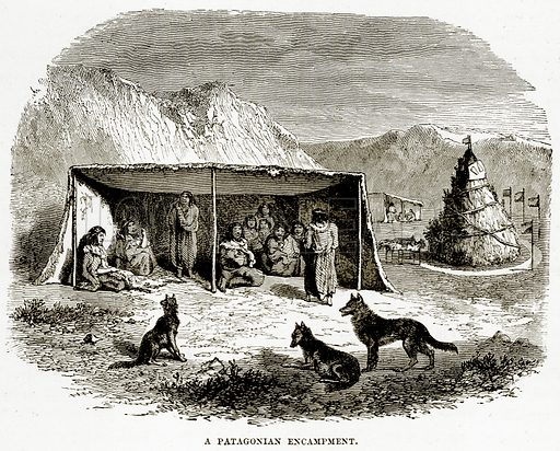 A Patagonian Encampment. Illustration from The Countries of the World by Robert Brown (Cassell, c 1890).