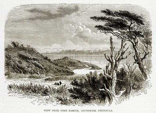 View near Port Famine, Brunswick Peninsula. Illustration from The Countries of the World by Robert Brown (Cassell, c 1890).