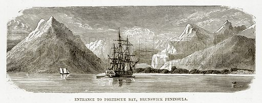 Entrance to Fortescue Bay, Brunswick Peninsula. Illustration from The Countries of the World by Robert Brown (Cassell, c 1890).