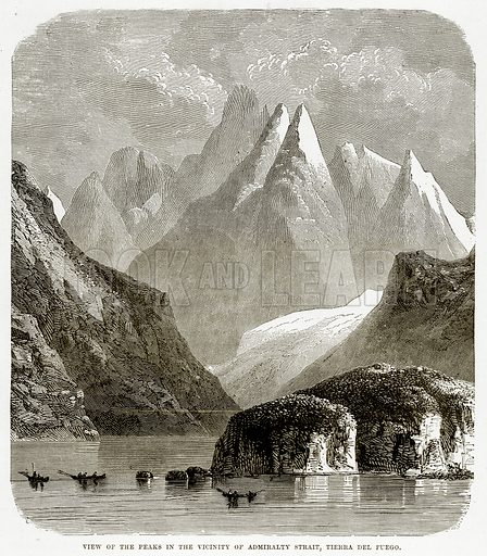 View of the Peaks in the Vicinity of Admiralty Strait, Tierra del Fuego. Illustration from The Countries of the World by Robert Brown (Cassell, c 1890).