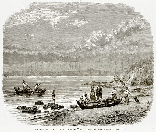 """Chanco Indians, with """"Balsas,"""" or Rafts of the Balsa Wood. Illustration from The Countries of the World by Robert Brown (Cassell, c 1890)."""