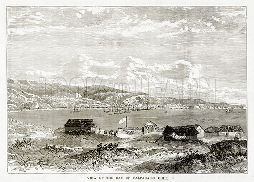 View of the Bay of Valparaiso, Chill. Illustration from The Countries of the World by Robert Brown (Cassell, c 1890).