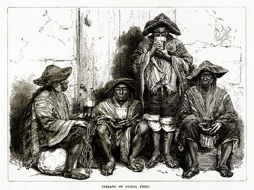 Indians of Cuzco, Peru. Illustration from The Countries of the World by Robert Brown (Cassell, c 1890).
