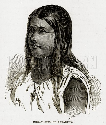 Indian Girl of Paraguay. Illustration from The Countries of the World by Robert Brown (Cassell, c 1890).
