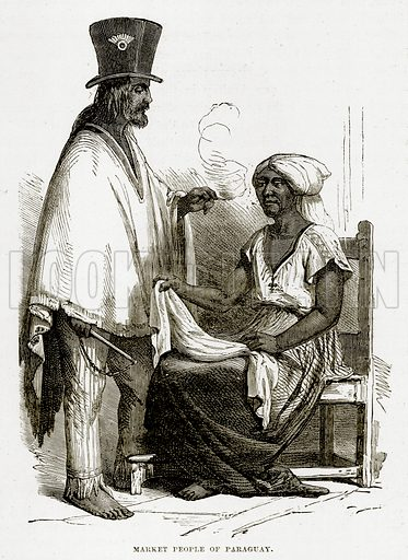 Market People of Paraguay. Illustration from The Countries of the World by Robert Brown (Cassell, c 1890).