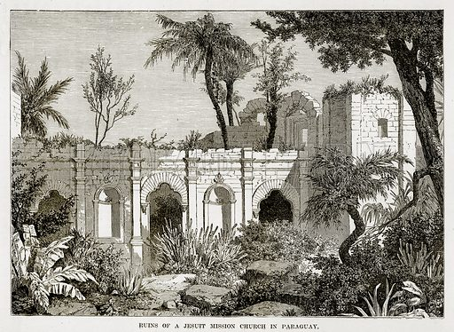 Ruins of a Jesuit Mission Church in Paraguay. Illustration from The Countries of the World by Robert Brown (Cassell, c 1890).