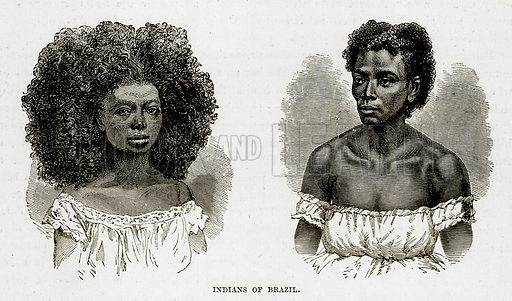 Indians of Brazil. Illustration from The Countries of the World by Robert Brown (Cassell, c 1890).