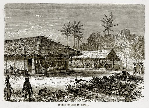 Indian Houses in Brazil. Illustration from The Countries of the World by Robert Brown (Cassell, c 1890).