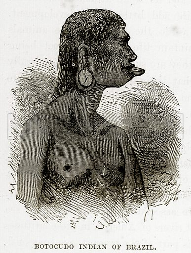 Botocudo Indian of Brazil. Illustration from The Countries of the World by Robert Brown (Cassell, c 1890).