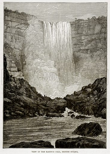 View of the Kaietur Fall, British Guiana. Illustration from The Countries of the World by Robert Brown (Cassell, c 1890).