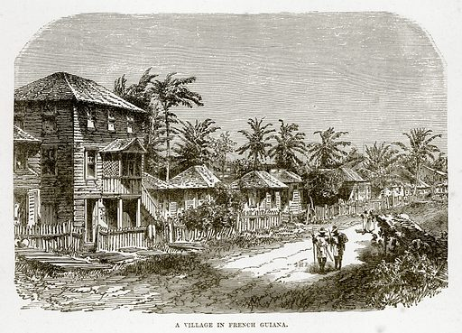 A Village in French Guiana. Illustration from The Countries of the World by Robert Brown (Cassell, c 1890).