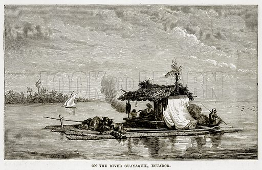On the River Guayaquil, Ecuador. Illustration from The Countries of the World by Robert Brown (Cassell, c 1890).