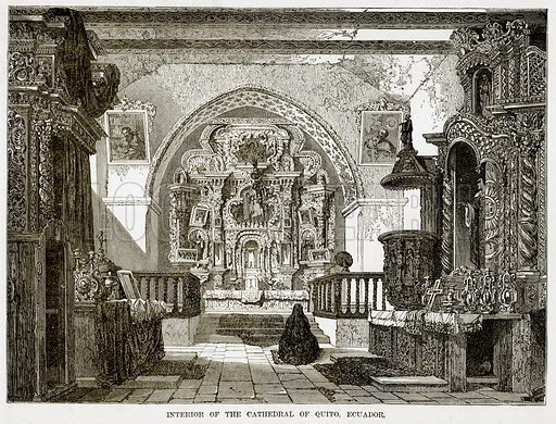 Interior of the Cathedral of Quito, Ecuador. Illustration from The Countries of the World by Robert Brown (Cassell, c 1890).