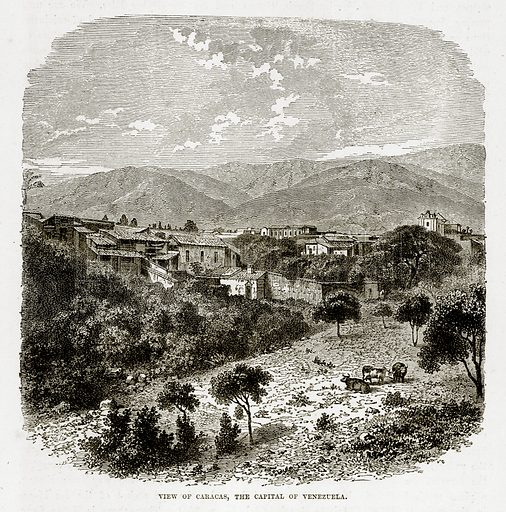 View of Caracas, the Capital of Venezuela. Illustration from The Countries of the World by Robert Brown (Cassell, c 1890).