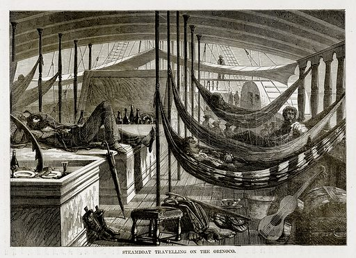 Steamboat Travelling on the Orinoco. Illustration from The Countries of the World by Robert Brown (Cassell, c 1890).